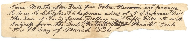 1836 Promisory Note to Charles Chapman C